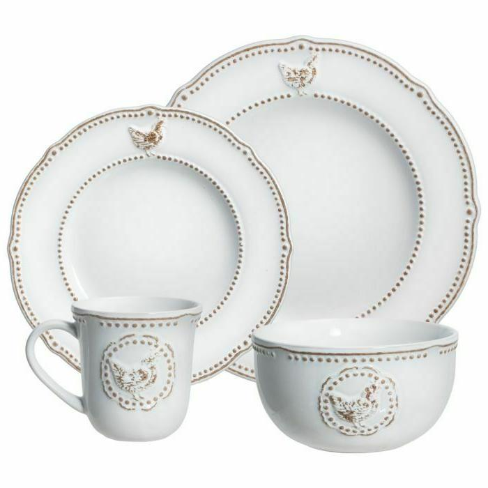 farmhouse hen 32 piece dinnerware set brand