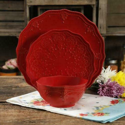 farmhouse lace 12 piece dinnerware set red