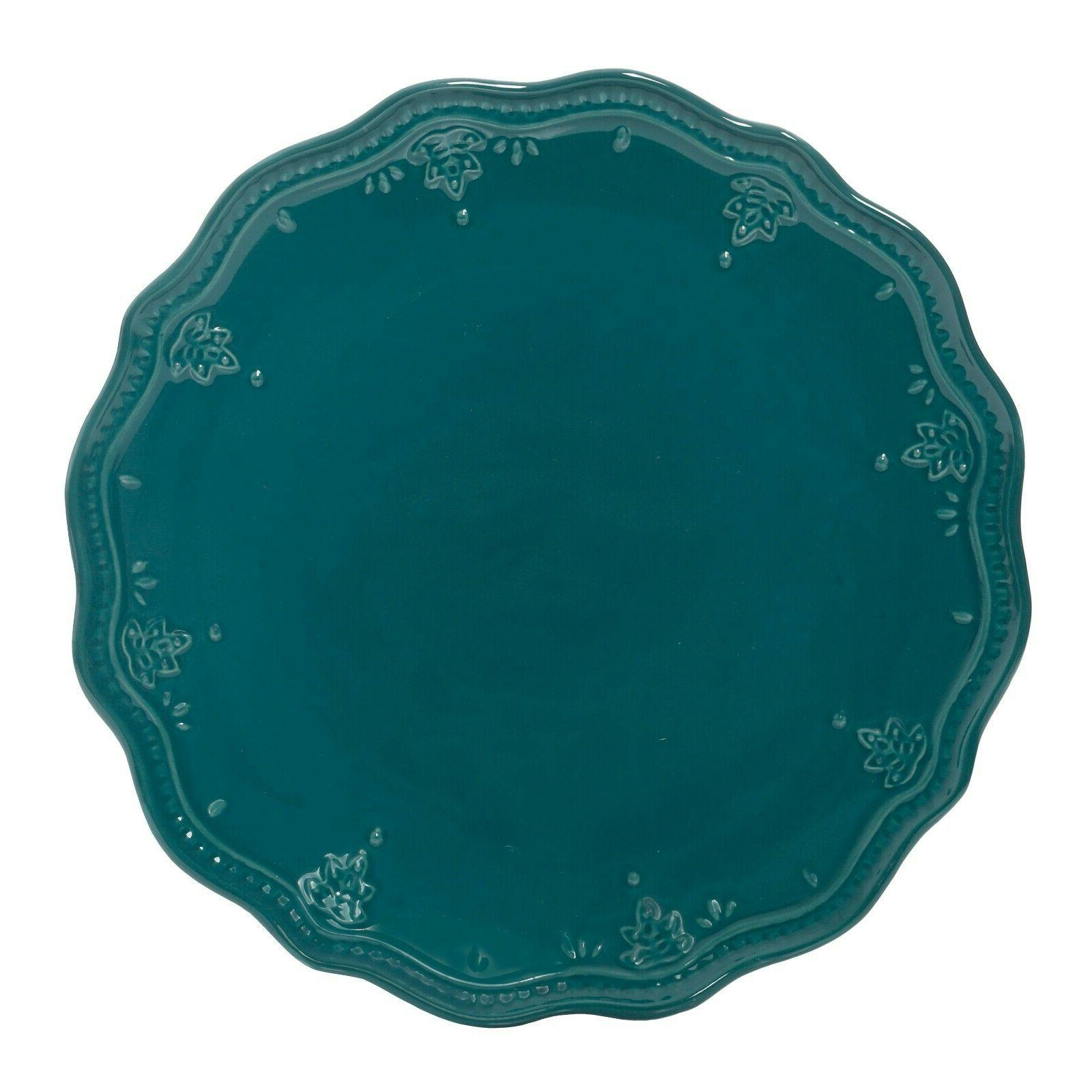 The Pioneer Lace 12-Piece Dinnerware Set, Teal