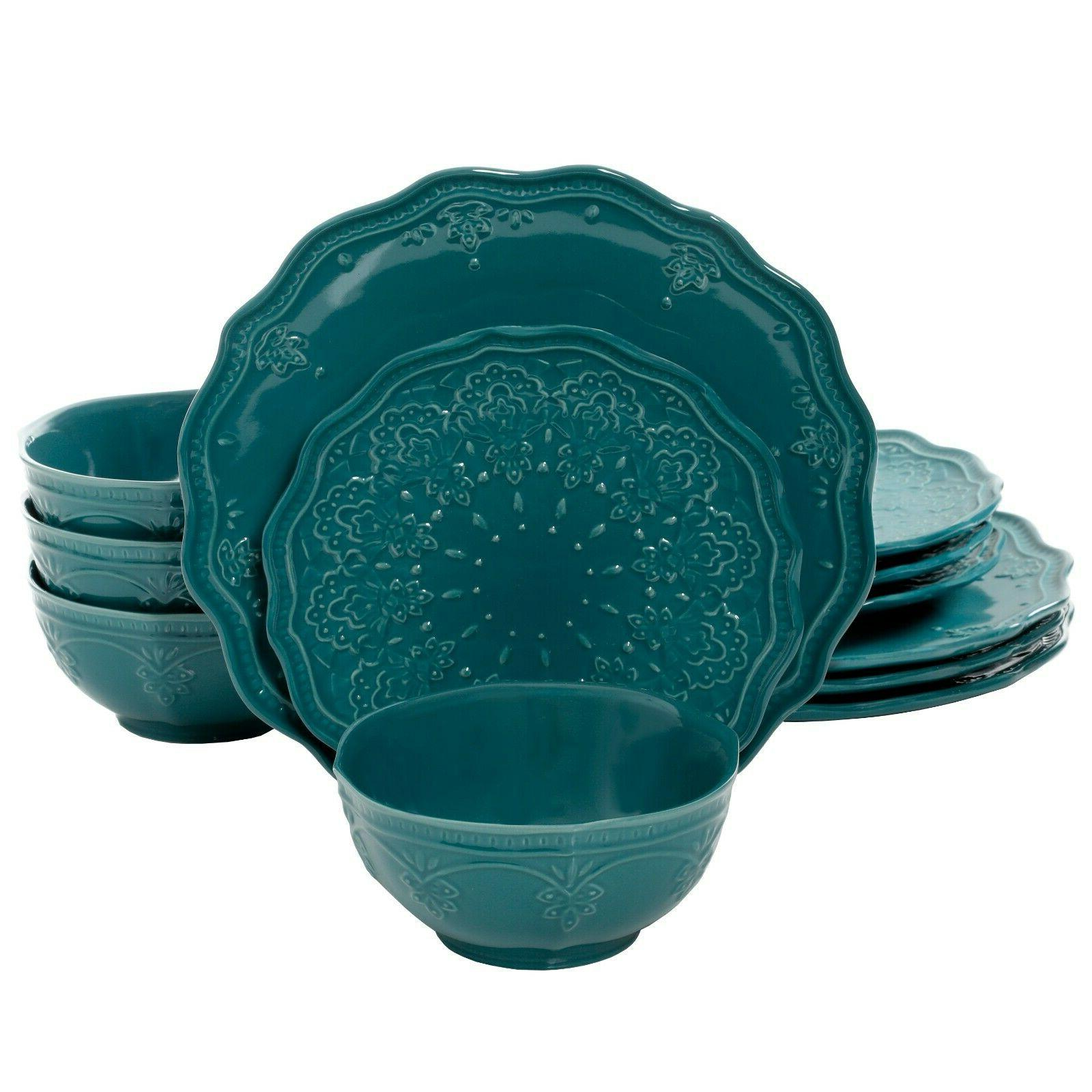 The Pioneer Woman Lace 12-Piece Teal