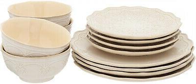 12-PC Elegant Dinnerware Lace Set, Dishes Plates & Bowls,