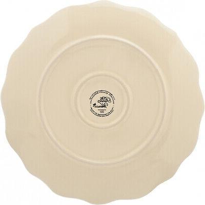 12-PC Farmhouse Lace Plates & Bowls, Linen