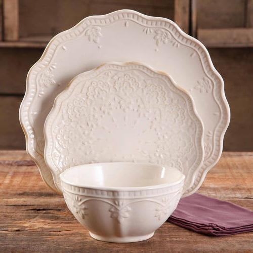 12-PC Elegant Dinnerware Farmhouse Lace Set, Dishes Plates &