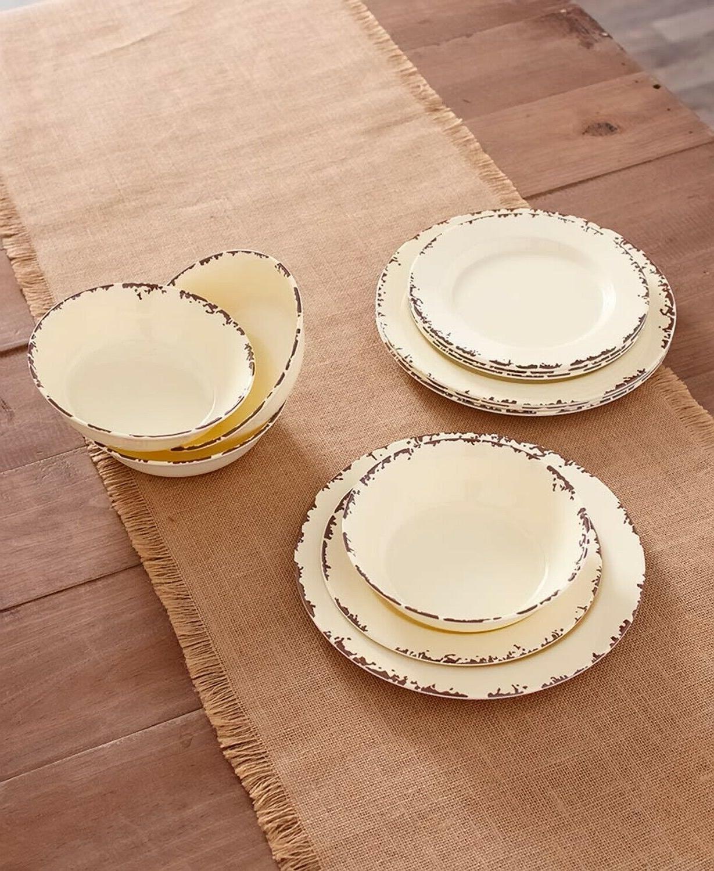 farmhouse solid melamine country dinnerware cream 12