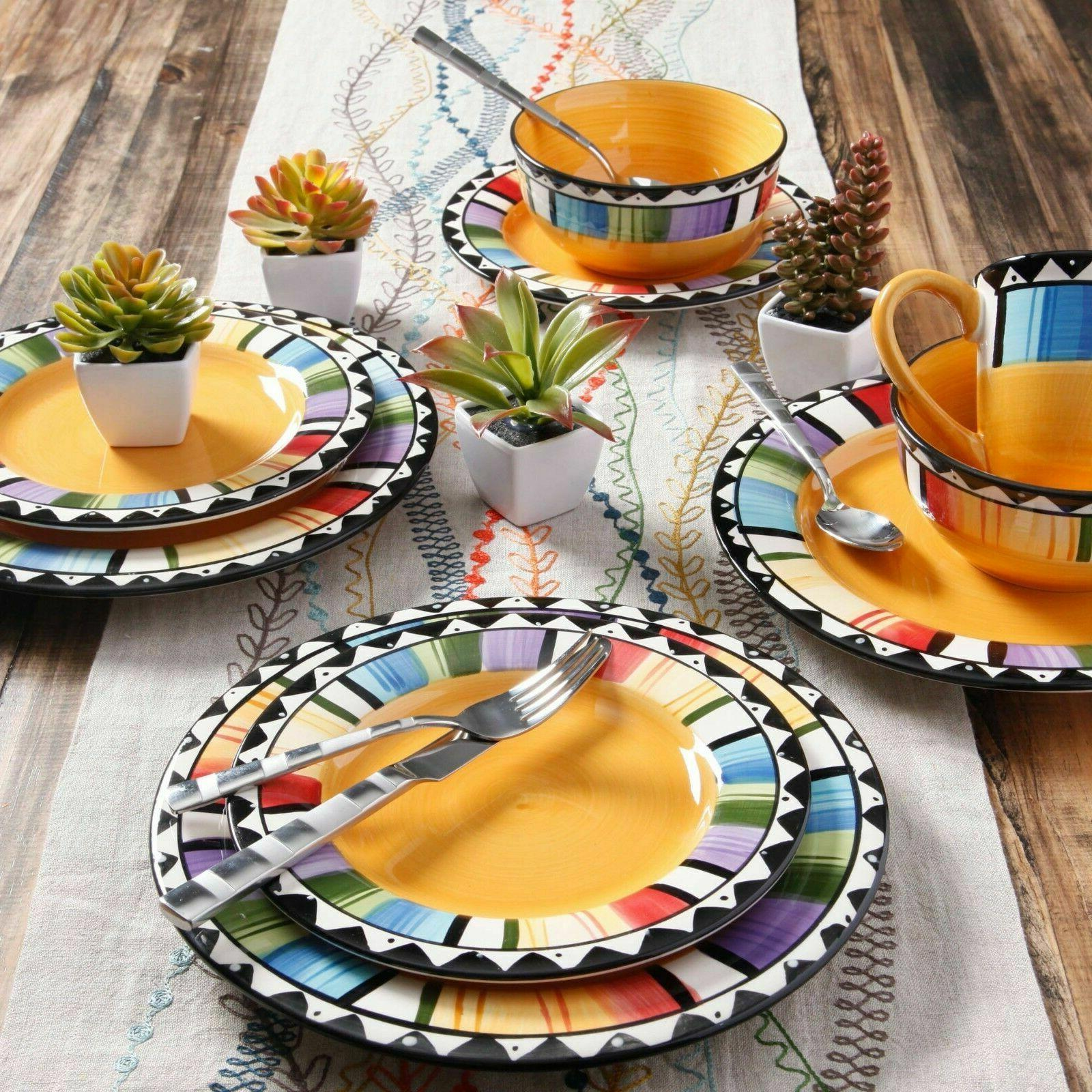 Fiesta Dinnerware 16 PC Set Dishes Plate Bowl Mug Stoneware