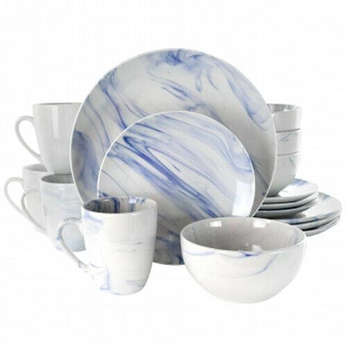 Elama Fine Marble 16 Piece Stoneware Dinnerware Set in Blue