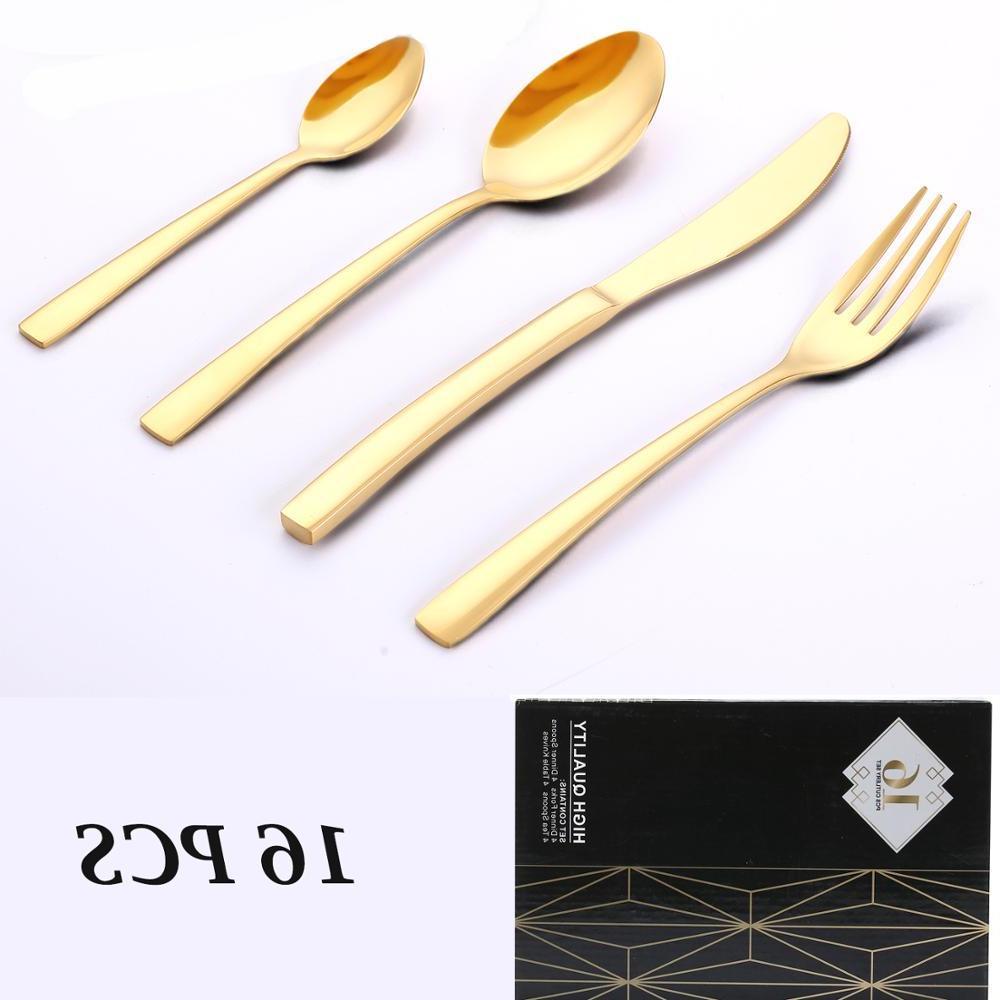 <font><b>16</b></font> PCS <font><b>Set</b></font> Mirror Polishing Cutlery <font><b>Sets</b></font> Steel Polish <font><b>Dinnerware</b></font> Spoons/Knives/Fork Gift Box