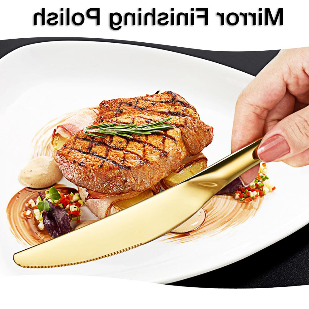 <font><b>16</b></font> Gold Cutlery <font><b>Set</b></font> Flatware Mirror Polishing Steel Gift Box