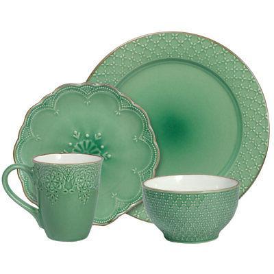 Pfaltzgraff Lace Green 16 Piece Dinnerware Set
