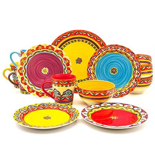 Euro Collection Andalusian-Inspired Piece Dinnerware Vibrant Patterns, Multicolor