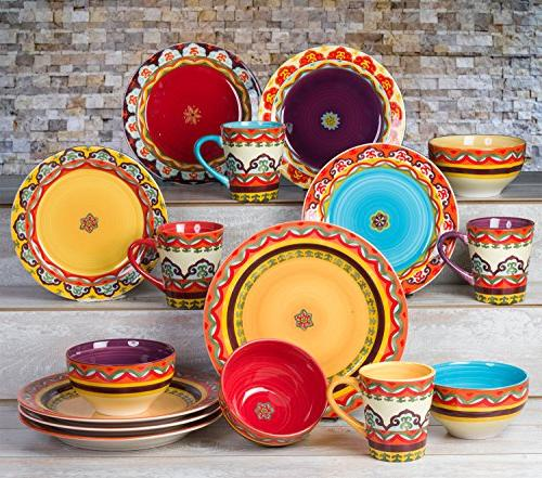 Euro Ceramica Galicia Andalusian-Inspired 16 Piece Dinnerware Patterns, Multicolor