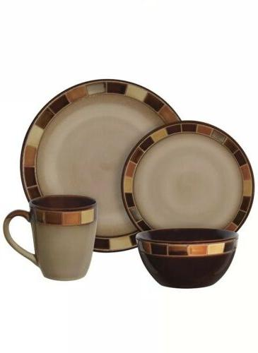 Gibson Estebana 16-piece Dinnerware 4, Brown