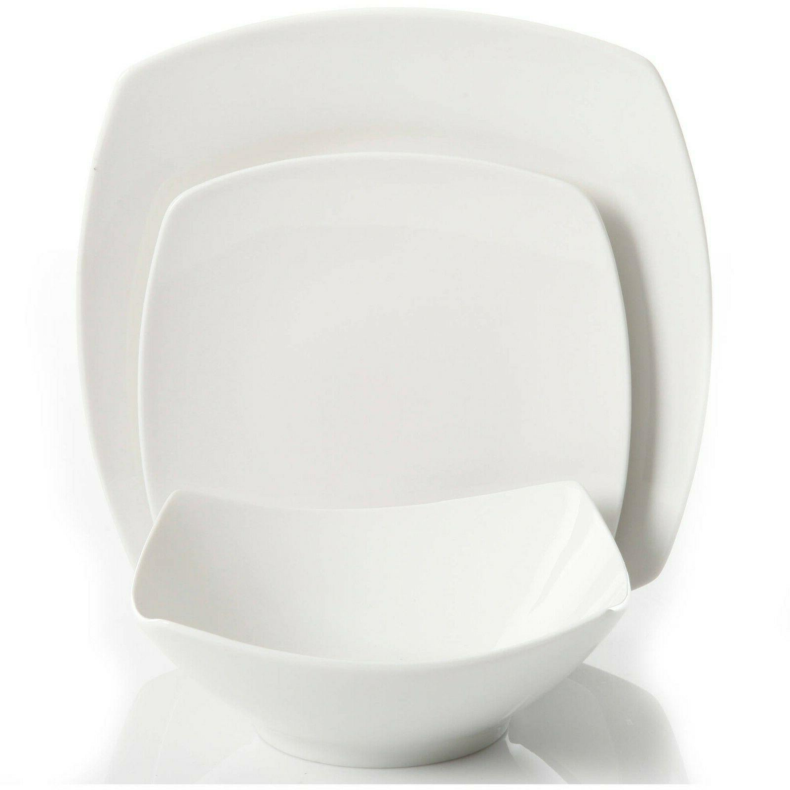 12-Piece Dinner Dessert Plates Bowls Ceramic
