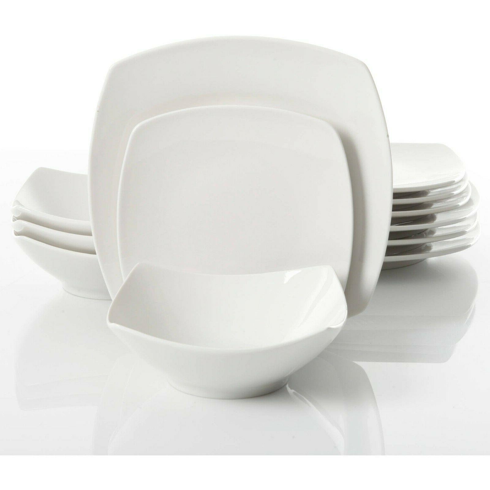 12-Piece Dinner Dessert Ceramic White