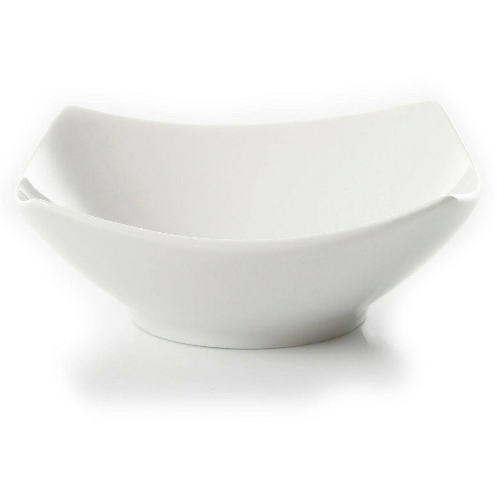 12-Piece Square Dinner Bowls Ceramic White