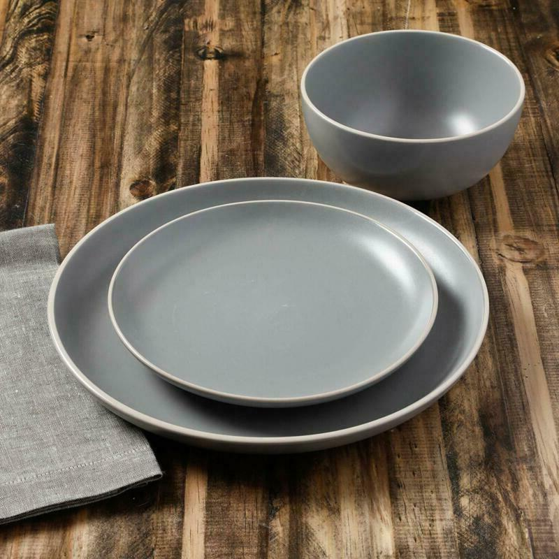 Gibson Home Rockaway 12-Piece Dinnerware Service 4, Grey