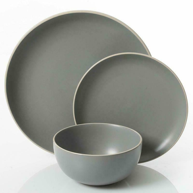 Gibson Dinnerware Set 4, Grey Matte