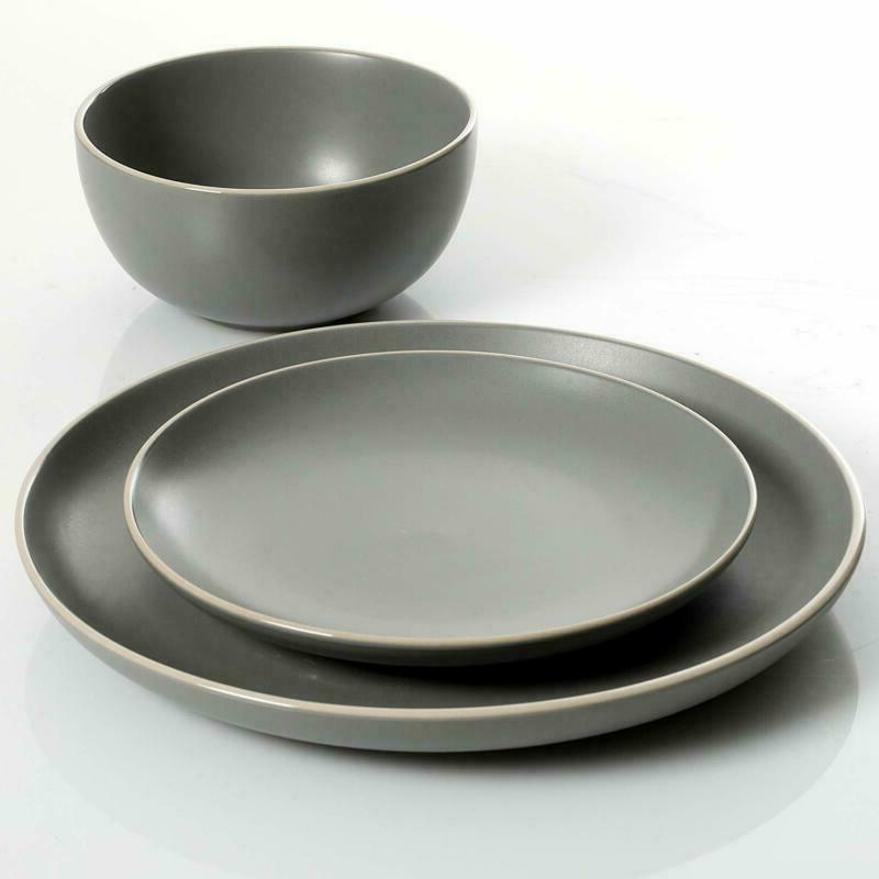 Gibson Home 12-Piece Dinnerware Set Service 4, Grey Matte