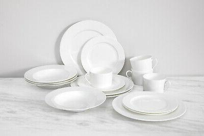 gourmet essentials classic rim 16pc dinnerware set