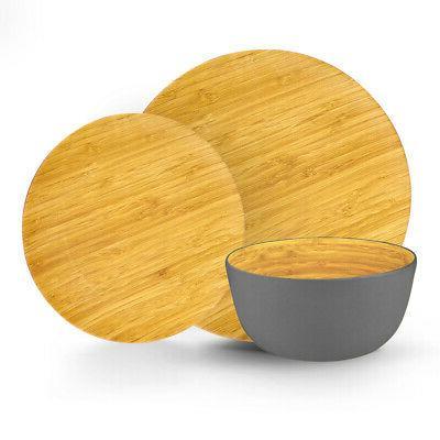 grey colored bamboo dinnerware set 12 piece
