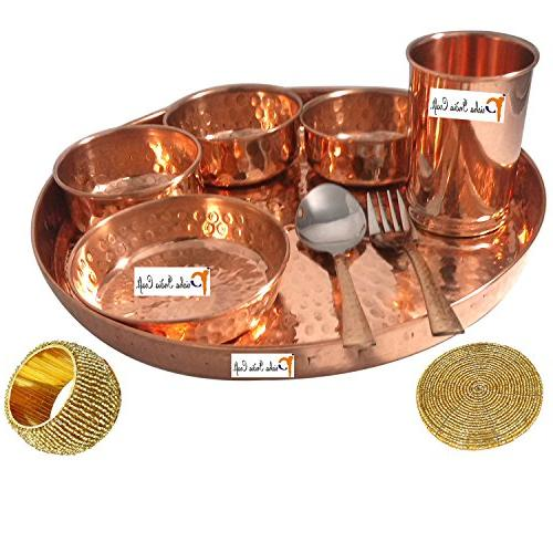 "Set of 6 Prisha India Craft Dinnerware Copper Set 12"" Dinner of Bowl, Spoons, Glass Napkin ring -"