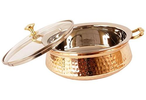 """Set of 3 India Steel Copper HANDI Lid and Serving - - Bowl 5.00"""" Height - 2.25"""" - Christmas Gift"""