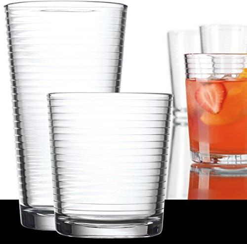 Set of Base Ribbed Durable Glasses Includes 8 Glasses and Rocks Glasses, 16-piece Set