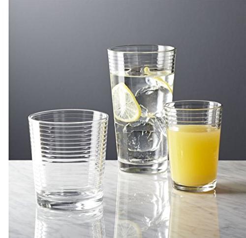 Set 16 Heavy Base Glasses Includes 8 Glasses and 8 Glasses, Elegant Set