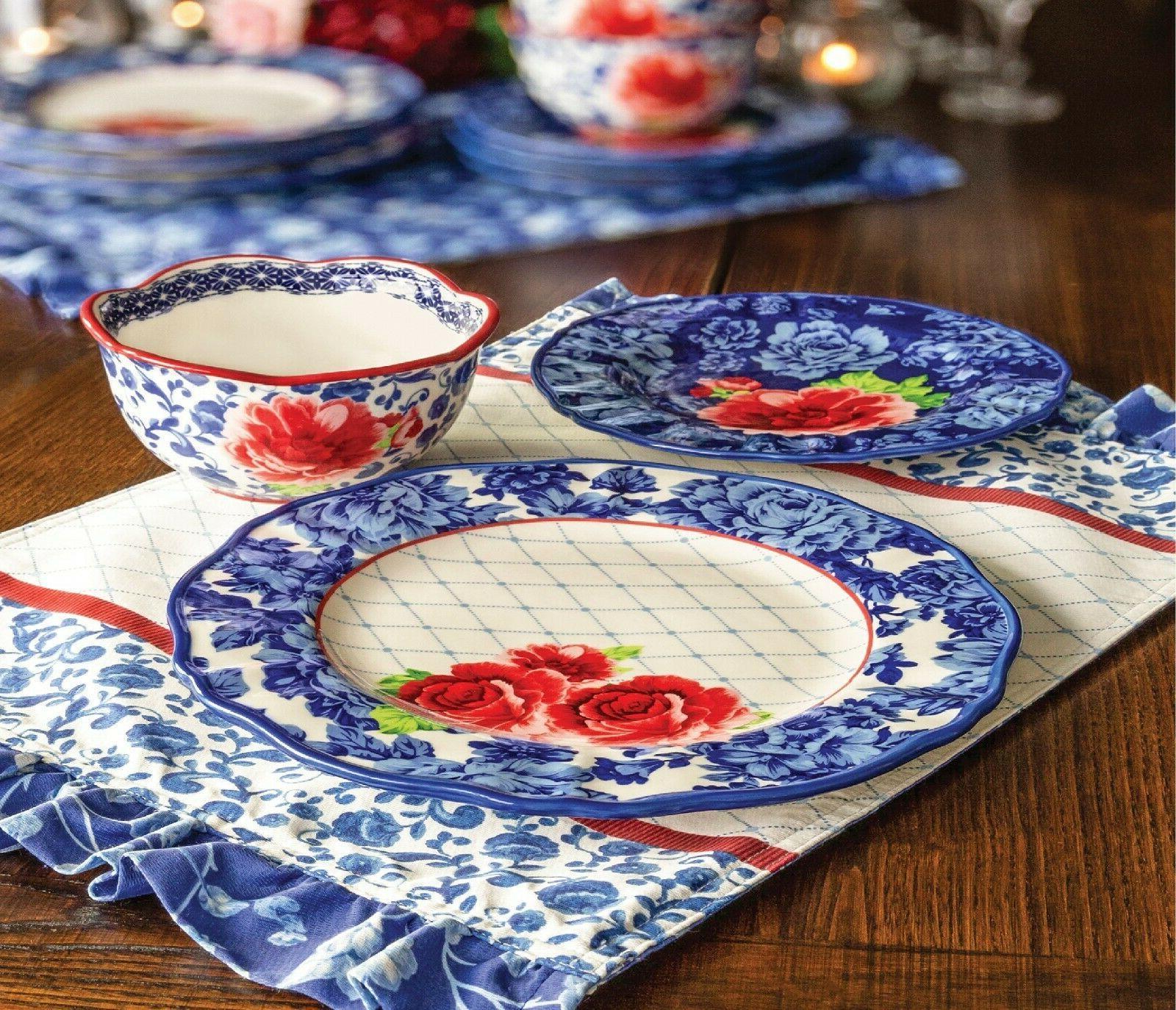 The Pioneer Floral 12-Piece Dinnerware Blue Dishwasher Safe