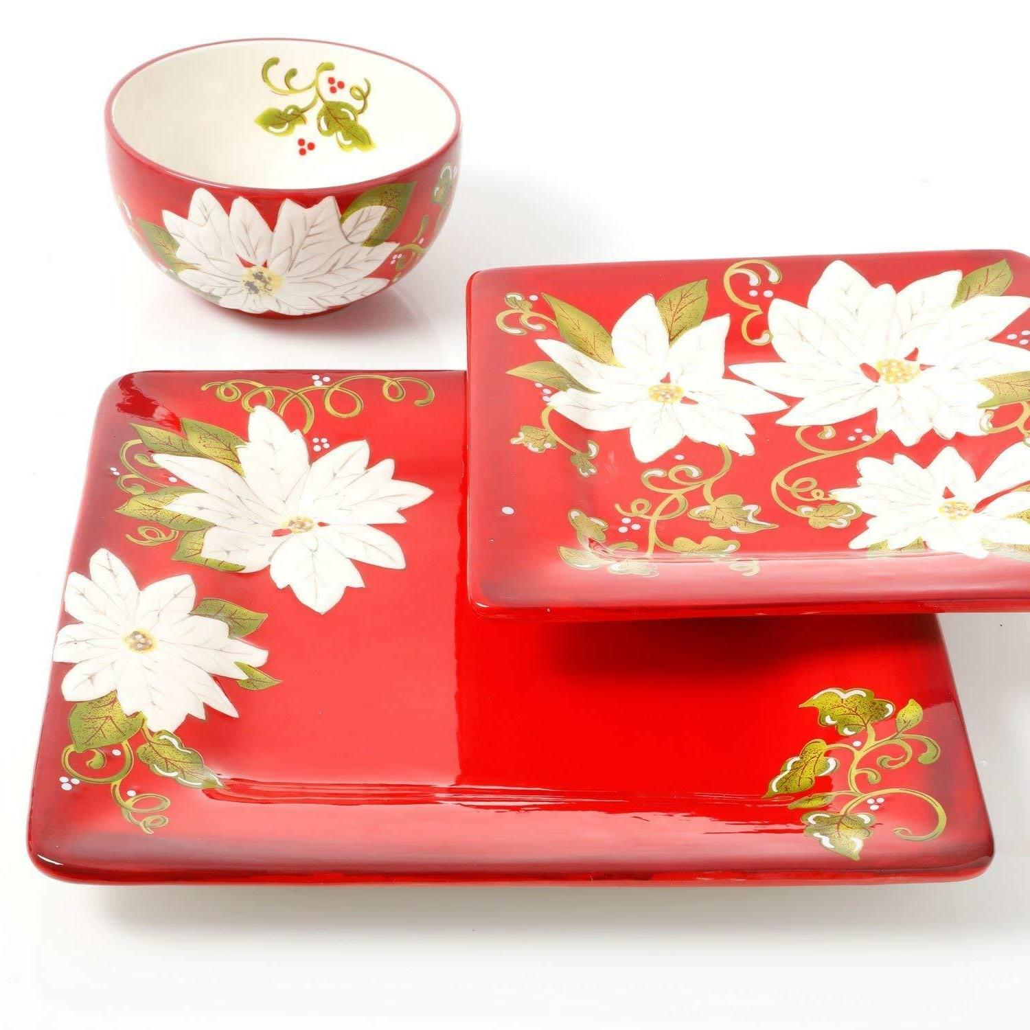 Christmas Set for 4 Decorated Ceramic