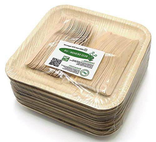 Holiday Party Dinnerware Eco Set of 75 Disposable: