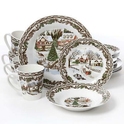 Gibson Home Christmas Toile 16 Piece Dinnerware Set, Green