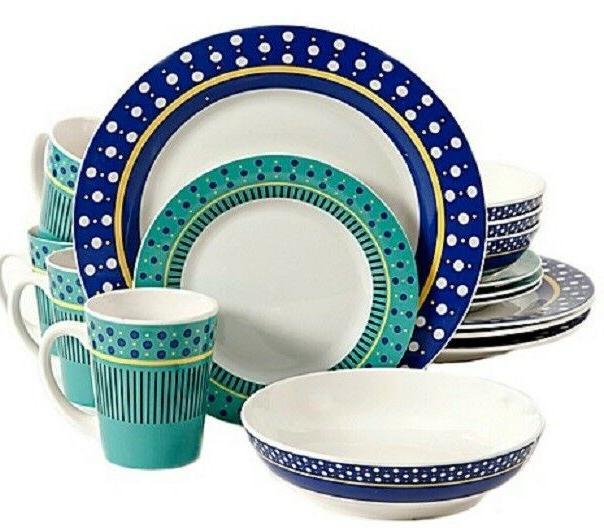 home lockhart 16 piece multicolor dinnerware set