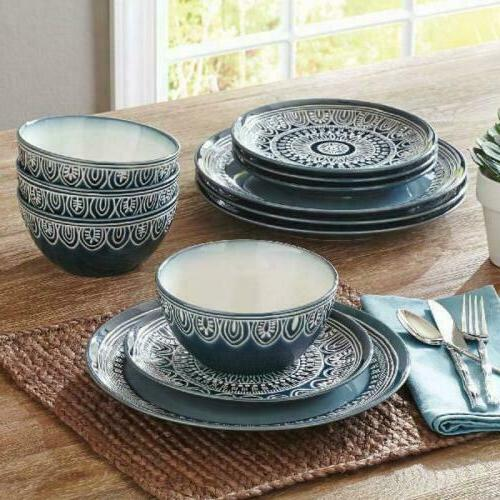 home quality stoneware teal medallion 12 piece