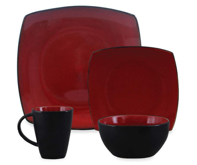 home red soho square 16 piece dinnerware