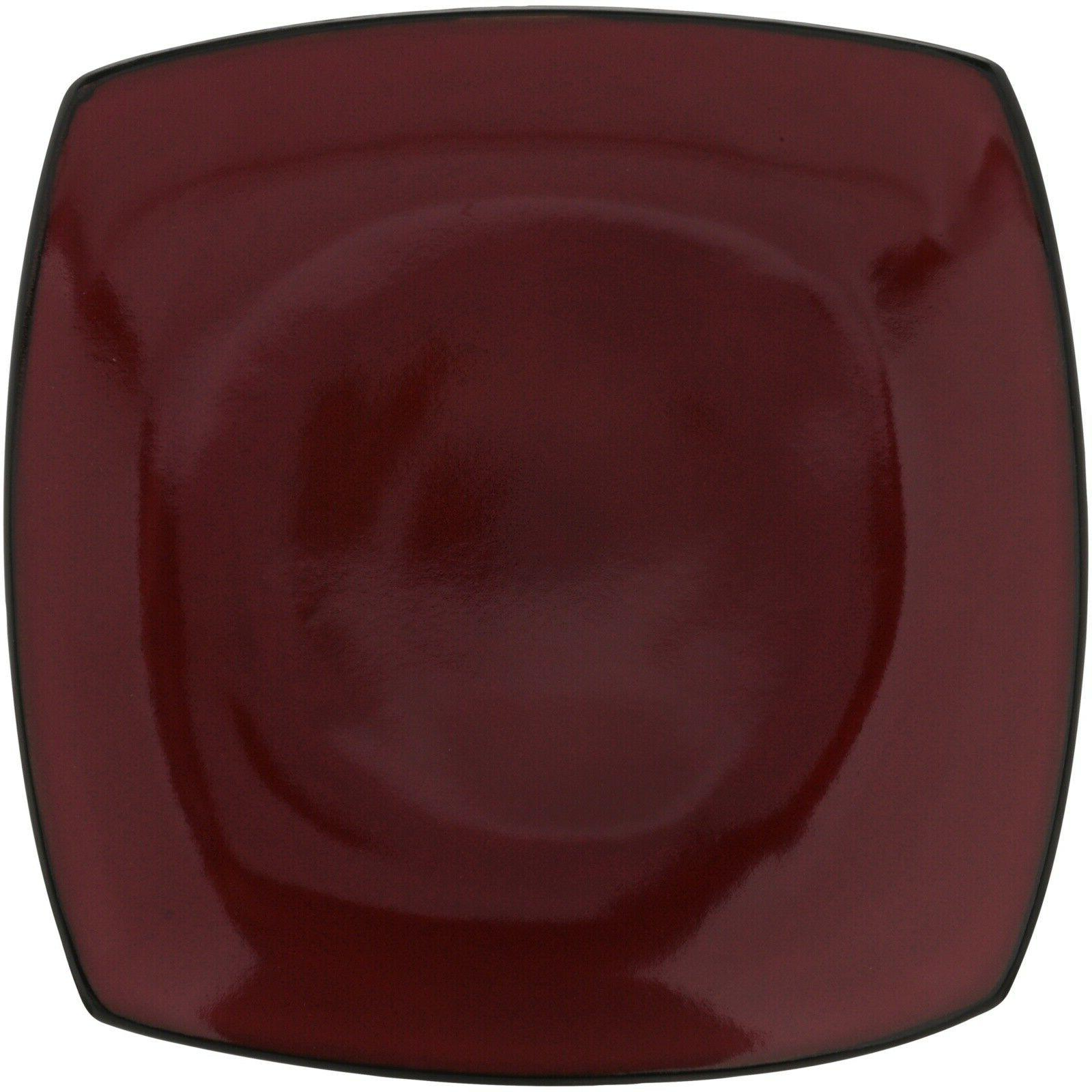 """Gibson Home Soho Lounge 10.5"""" Square Dinner Plates Red Set o"""