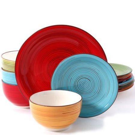 Better Homes Festival 12-Piece Dinnerware Set, Assorted, Dishwasher 2-Pack