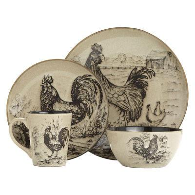 homespun rooster 16 piece dinnerware set
