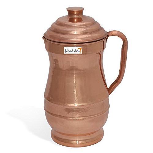 "Prisha India Craft of Indian Pure Copper Set of Dia 12"", Bowl, Fork, JUG -"
