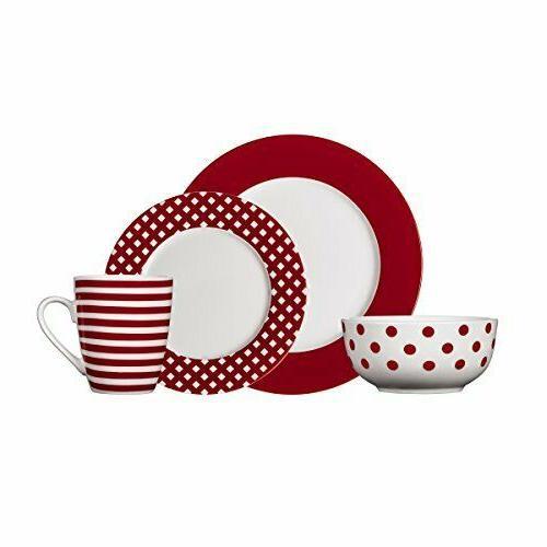 kenna red dinnerware set