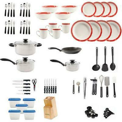 Kitchen Set Essential Cookware and Pans Pcs, Red