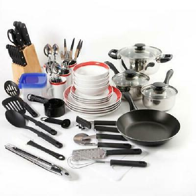 kitchen combo set home essential cookware dinnerware