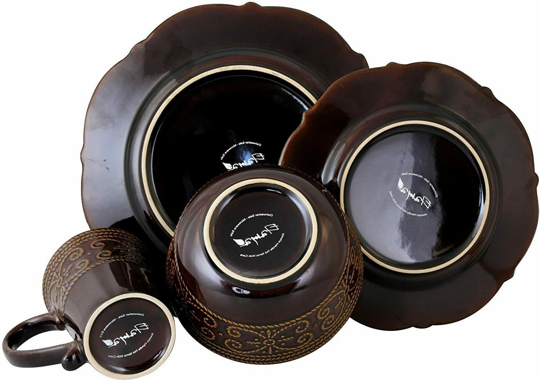 Kitchen Dish Dining Plate Bowl Mug Stoneware 16 Pc