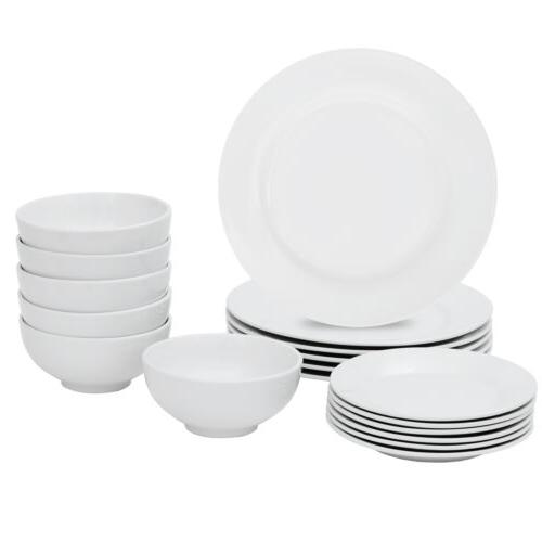 18-Piece Dinnerware Dinner Plates Service For White