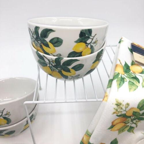 Lemon Pattern Ceramic Bowls Plates Towel