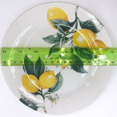 Lemon Pattern 8 Ceramic Dish Plates Kitchen Towel