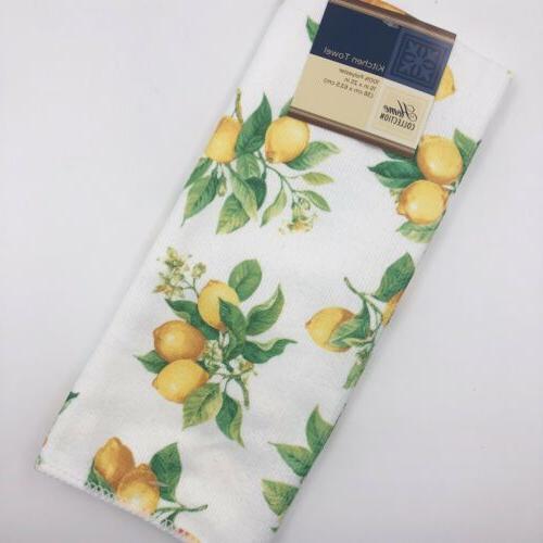 Lemon Pattern Ceramic Set Plates Kitchen Towel NEW