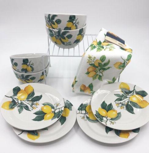 lemon pattern 8 piece ceramic dish set