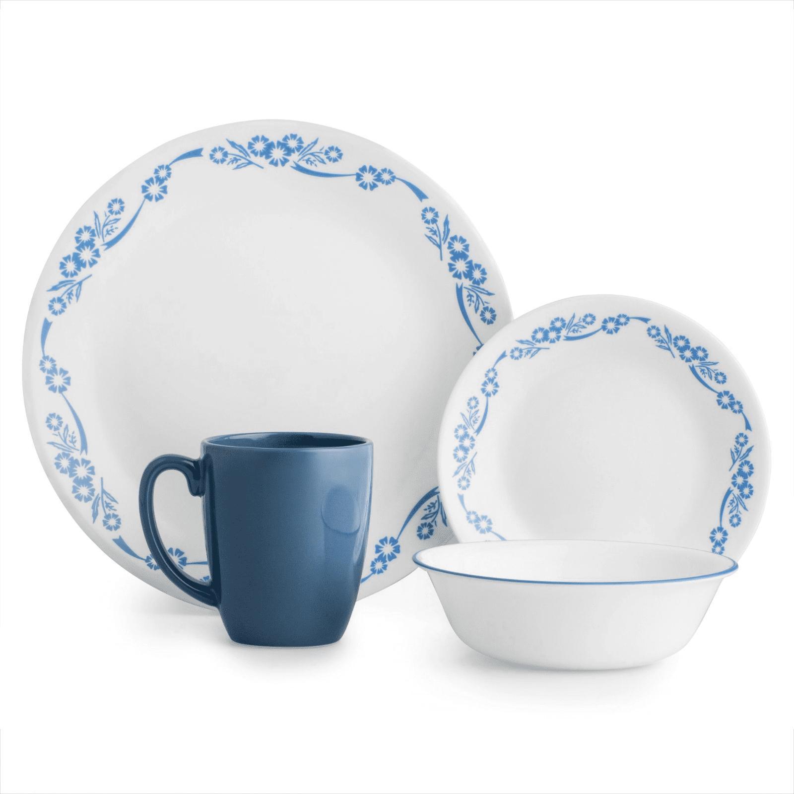 livingware cornflower 16 piece dinnerware set plates