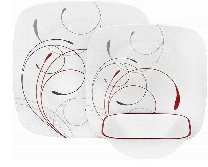 livingware splendor 16 piece square dinnerware set